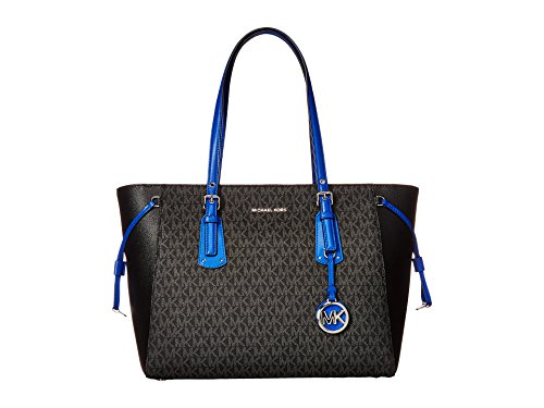 MICHAEL MICHAEL KORS Large Voyager Two Tone Tote, Black/Electric Blue