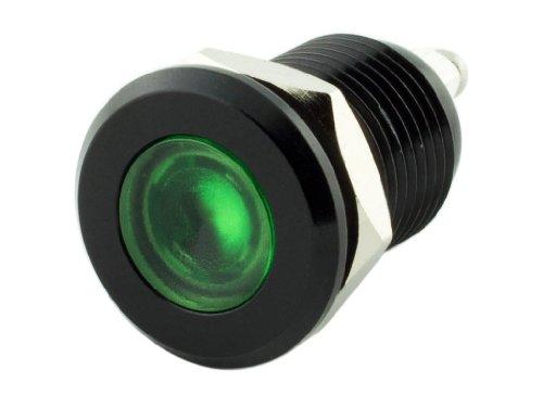 Alpinetech 12mm 1/2 Green 12V LED Metal Indicator Pilot Custom Dash Light Lamp (Led Green Indicator)