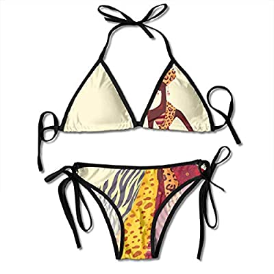 Kasiola African Girl Posing with A Dress of Differen Women's Sexy Tie Shoulders Two-Piece Bikini Set Swimsuits Adjustable