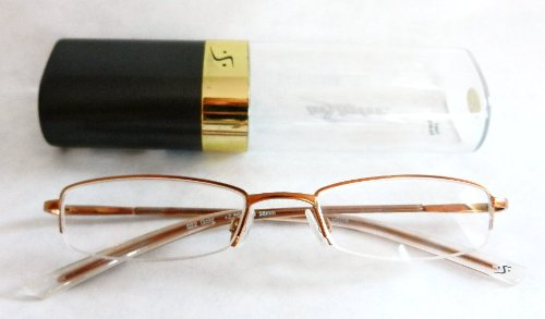 +1.75 Insight Quality Gold Half Frame Reading Glasses w/ Hard Case (232) + FREE Bonus Micro-suede Cleaning Cloth ()