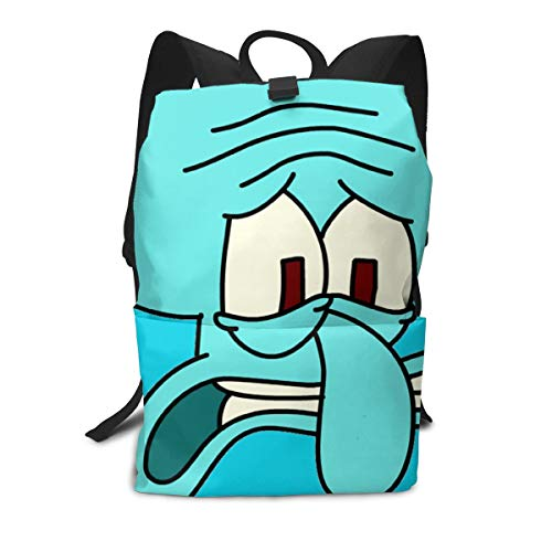 JacobCloe Men's Anxious Squidward Tentacles Solid And Wear Resistant Lightweight Backpacks For ()