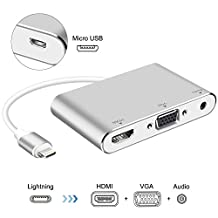 Lightning Digital AV Adapter, Lighting to HDMI VGA Adapter Compatible iPhone, iPad, and iPod Touch Models, with Micro USB Charging port for HD TV Monitor Projector