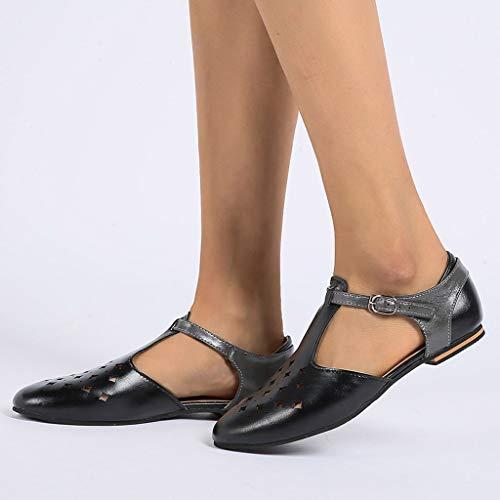 Chaussures Hollow Escarpins De Femmes Plage lin Base Day Plateforme Rétro Sandales À Plate Boucle Noir Volants 43 Été Respirant Out 35 Soldes FZPCqxnwf
