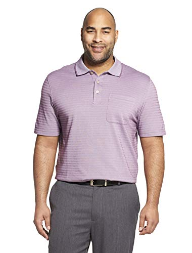 (Van Heusen Men's Flex Short Sleeve Stretch Stripe Polo Shirt, Purple Orchid Petal, Medium)
