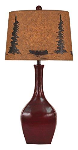 - Coast Lamp High Gloss Spanish Tile Glazed Oval Genie Pot Table Lamp With Pine/Canoe Shade