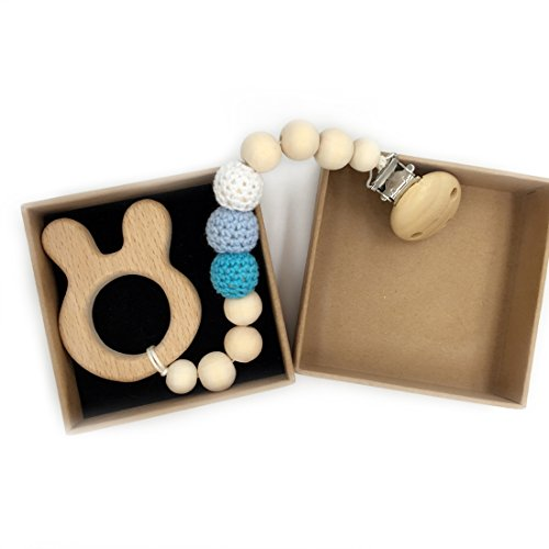 Amyster Eco-Friendly Wooden Animal Crochet Beads Teether Wooden Pacifier Clip Chewable Infant Holder Baby Teether Toys (Rabbit)