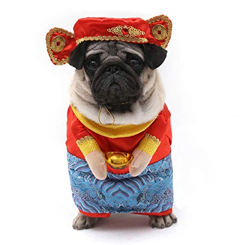 Dog Dress - Pet New Year God of Wealth Makeup Transformed Dress New Year Style Costume Clothes Set Dog Chinese Style Clothes -