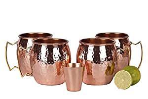 A29 Moscow Mule 100 % Solid Pure Copper Unlined Mug /Cup (16-Ounce/Set of 4, Hammered) with BONUS Shot Glass and Free Recipe Booklet