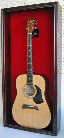 LARGE Acoustic Guitar Display Case Cabinet, Fit most Guitars, with Lock, Mahogany Finish (Red Background, Mahogany Finish)