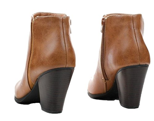 Leather Faux Tevay Toe Pu Cityclassified Classic Boots Almond Women's Tan EtvOWBHqw