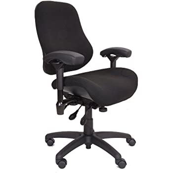 Bodybilt J2504x Black Fabric Xl High Back Thoracic Support Task Ergonomic Chair With Arms 22 Length