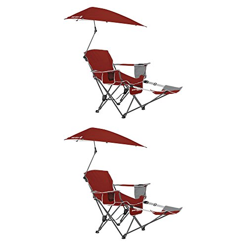 Sport Brella Portable Sun Shelter Umbrella Recliner Folding Chair, Red (2 Pack)