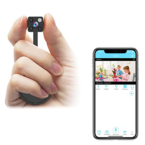 Relohas Mini Camera WiFi, 1080P Mini Camera Wireless Live Streaming, Upgraded Night Vision/Motion Activated Nanny Cam, Small Security Camera for Home and Outdoor (with Cell Phone APP)