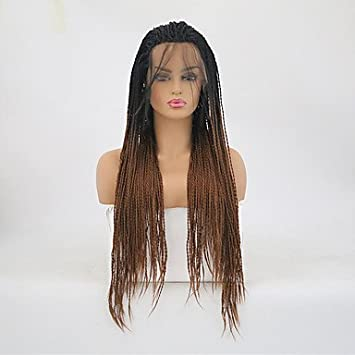 Wigs Twist Braids/Synthetic Lace Front Matte Braid Synthetic Hair Heat Resistant Dark Brown Womens