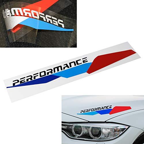 iJDMTOY Iconic M-Sport Tri-Color Stripe w/Black Performance Letter Vinyl Sticker For BMW Hood Corner, Headlight Eyebrow