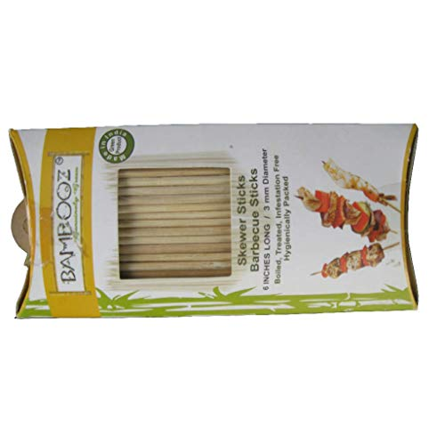 Bamboooz Bamboo Skewers  Beige, 6 inch    Set of 100