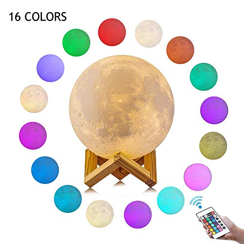 CHARISMAGIC 3D Moon Lamp 16 Colors 5.9 inch Night Stand Light Lunar with Remote,Hanging Light, Brightness Control, Touch Control | Night Rechargeable Moon Globe USB | Kids Birthday Gift Night Lamp ()