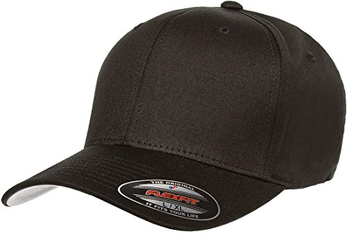 Flexfit Men's Cotton Twill Fitted Cap, Black, Large/Extra Large (Black Baseball Cap Fitted)