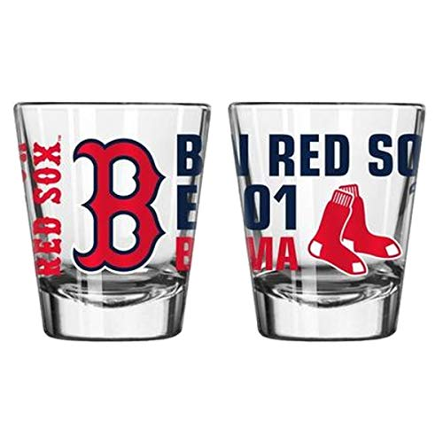 Official Fan Shop Authentic MLB Logo 2 oz Shot Glasses 2-Pack Bundle. Show Team Pride at Home, Your Bar or at The Tailgate. Gameday Shot Glasses for a Goodnight (Boston Red Sox - Spirit Shot) Boston Red Sox Glass