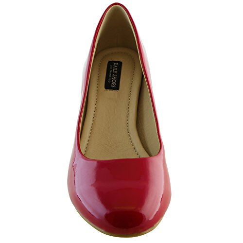 01 Patent Fashion Shoes Toe High Classic Evening Versatile DailyShoes Lily Low Red Women's Pump Party Dress Elegant Stiletto Round Leather Heel FwzIpPHWq