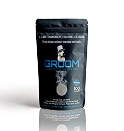 GROOM Pet Bathing Tablets for Dogs, Cats & Horses. pH Natural Shampoo & Odor Eliminator | pH Balanced Body Wash | Hypoallergenic, Dry Skin and Coat Safe (100-Count) by Groom