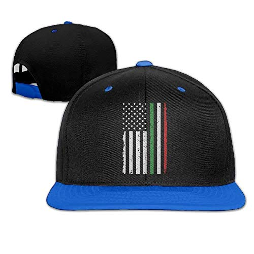 Italian American Flag Unisex Hiphop Flatbrim Snapback Hats Adjustable Baseball Cap for Women ()