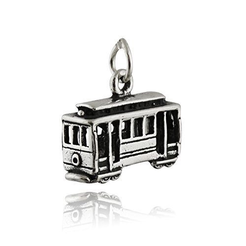Cable Car Charm - 925 Sterling Silver 3D San Francisco Street Trolley Streetcar Jewelry Making Supply, Pendant, Charms, Bracelet, DIY Crafting by Wholesale Charms