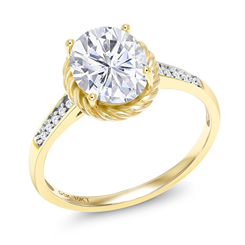 10K Yellow Gold Solitaire Ring Forever Classic Oval 2.10ct (DEW) Created Moissanite by Charles & Colvard and Diamond ()