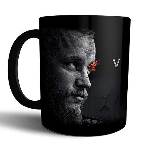 Caneca de porcelana preta Vikings Ragnar Lothbrok Live Comics - Preta