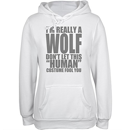 [Halloween Human Wolf Costume White Juniors Soft Hoodie - 2X-Large] (Human Wolf Costume)