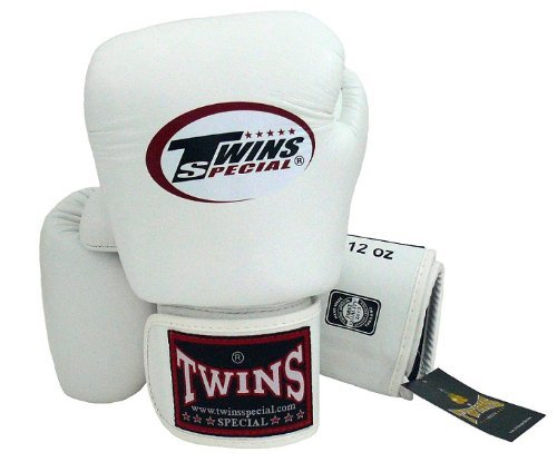 Twins Special - Boxing Gloves. BGVL3, Color:Black Red Green Orange White Blue, Size: 10 12 14 16 oz. Training/Sparring Gloves for Muay Thai, Kick boxing, MMA (white, 14 oz)
