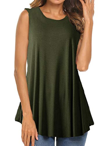 Shirt Green Top Tank Flower - Tobrief Women Sleeveless Floral Print Swing Tunic Tank Tops (XXL, Army Green)