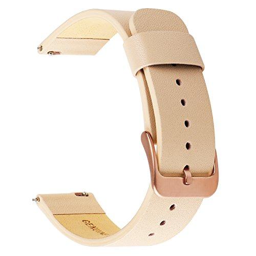 for Samsung Galaxy Watch 42mm/Gear S2 Classic Watchband, TRUMiRR 20mm Soft Genuine Leather Rose Gold Watch Band Quick Release Strap Women Bracelet for Gear Sport, Garmin Vivoactive 3,Ticwatch 2/E,Pink