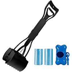 """Pooper Scooper, Plastic Jaw Dog Waste Poop Scoop Set, Heavy Duty Large Pick Up Tools With Long Handle,2 Waste Bags and Holder Included,Perfect for All Size Pets(Black 24"""")"""