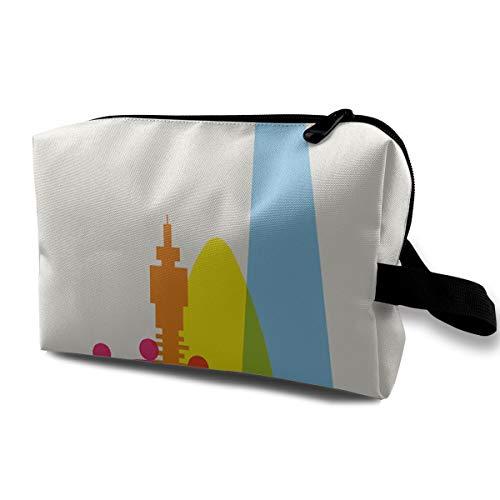 Frieda Richard Makeup Bag Pouch Travel Purse London Printing Handbag Organizer Cosmetic Bags with Zipper