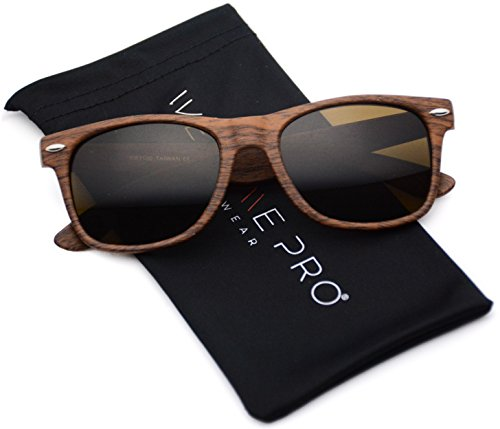 Faux Wood Reflective Revo Color Lens Horn Rimmed Sunglasses (Light Wood Print, 51)