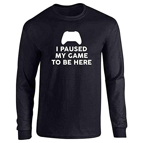I Paused My Game to Be Here XB Controller Gamer Black L Long Sleeve T-Shirt