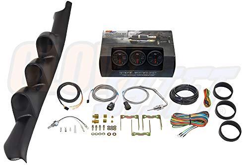 GlowShift Diesel Gauge Package for 1995-1998 Chevrolet Chevy C/K 2500 3500 Truck - Black 7 Color 60 PSI Boost, 1500 F Pyrometer EGT & Transmission Temperature Gauges - Black Triple Pillar Pod