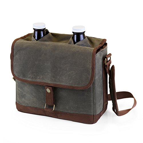 LEGACY - a Picnic Time Brand Double Growler Insulated Tote with Growlers, Khaki Green/Brown