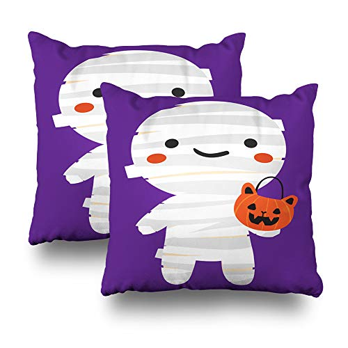 Kutita Set of 2 Decorative Pillow Covers 18x18 inch Throw Pillow Covers, Cartoon of White Mummy Costume for Halloween Pattern Double-Sided Decorative Home Decor Pillowcase -