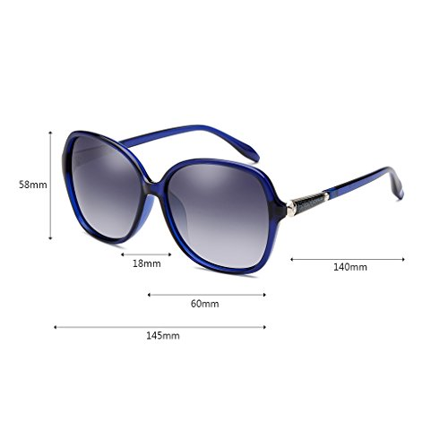 polarizadas vidrios Gafas Señoras de de Las Sol Playa Multi Portátiles la Marco de los Color conducen Protección UV400 Grande Gafas Manera de Que la Color Gafas Blue de de Sol Sol Gafas ZBU7q