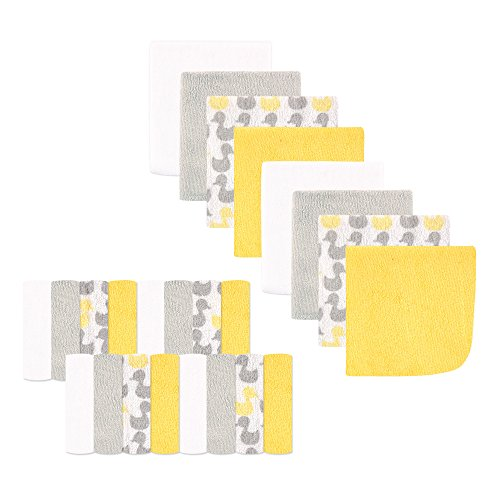 Luvable Friends 24-Piece Washcloths, Yellow Ducks, 24 Count