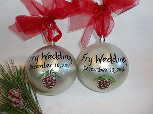 (Wedding Christmas Ornaments, Pine Cone Ornaments, Silver Shatterproof 4