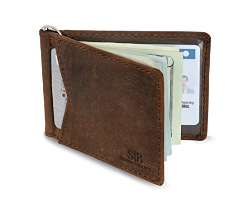 SERMAN BRANDS – RFID Blocking Leather Money Clip Slim Wallet, Minimalist Front Pocket Wallets For Men Made From Full Grain Leather (Dark Cherry M1)
