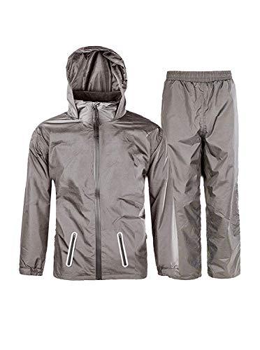 (ZITY Boys & Girls Hooded Windproof and Waterproof Jacket Light Rainwear (Jacket & Trouser Suit) Graphite-Suit 12)