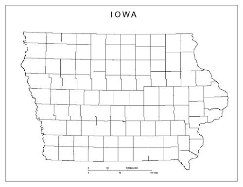 Home Comforts Laminated Map - Blank County Map of Iowa Poster 24 x 36