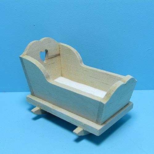 Unfinished Cradle - Dollhouse & Miniature Unfinished Nursery Cradle with Fabric Pad ~ CLA08665