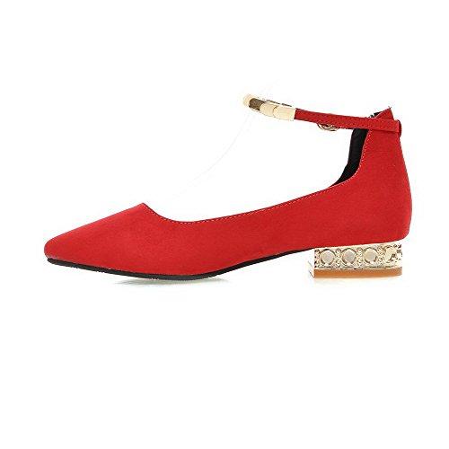 Amoonyfashion Kvinna Fast Frostat Låg Klack Spänne Pekade Sluten Tå Pumpar-skor Röd