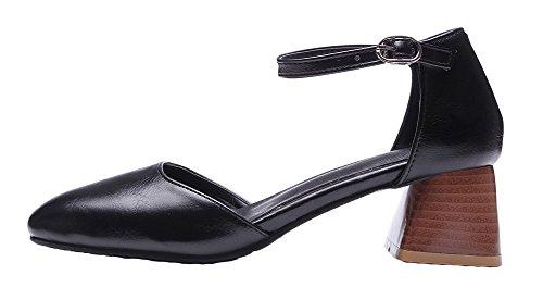 Cuir Correct AgooLar PU à Boucle Noir Femme Couleur Sandales Talon Unie EfqZwxqPAn