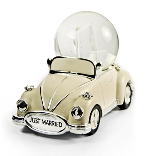 Iconic Just Married Ivory And Silver VW Beetle With Photo Frame Musical Snow Globe - Dance of the Sugar Plum Fairy (Nutcracker Suite) by MusicBoxAttic (Image #3)